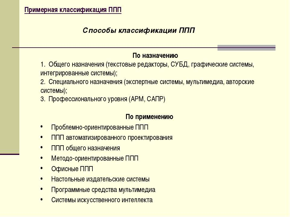 Примерная классификация ППП По применению Проблемно-ориентированные ППП ППП а...