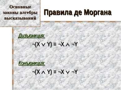 Правила де Моргана Дизъюнкция: ¬(X Y) ≡ ¬X ¬Y Конъюнкция: ¬(X Y) ≡ ¬X ¬Y Осно...
