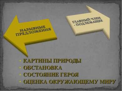 КАРТИНЫ ПРИРОДЫ ОБСТАНОВКА СОСТОЯНИЕ ГЕРОЯ ОЦЕНКА ОКРУЖАЮЩЕМУ МИРУ