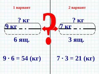 1 вариант 2 вариант 9 · 6 = 54 (кг) 7 · 3 = 21 (кг)