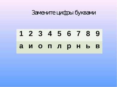 Замените цифры буквами 1 2 3 4 5 6 7 8 9 а и о п л р н ь в