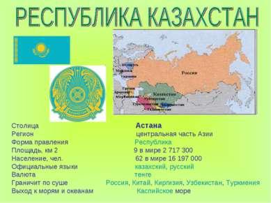 Столица Астана Регион центральная часть Азии Форма правления Республика Площа...