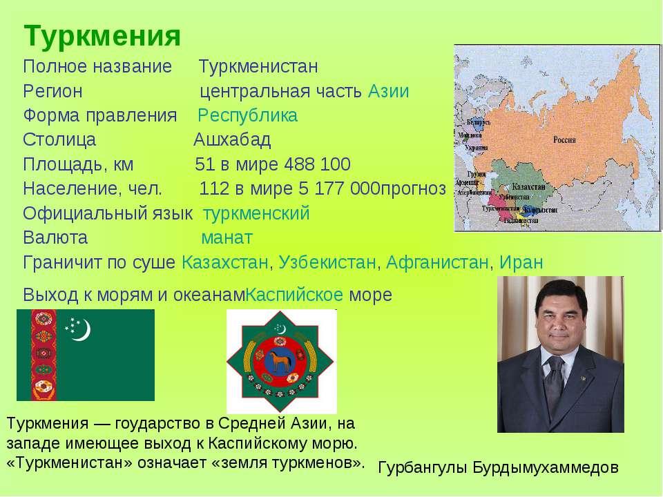 Туркмения Полное название Туркменистан Регион центральная часть Азии Форма пр...