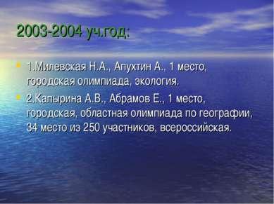 2003-2004 уч.год: 1.Милевская Н.А., Апухтин А., 1 место, городская олимпиада,...