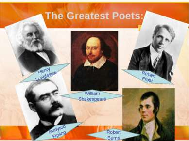 The Greatest Poets: William Shakespeare Henry Longfellow Robert Burns Rudyard...
