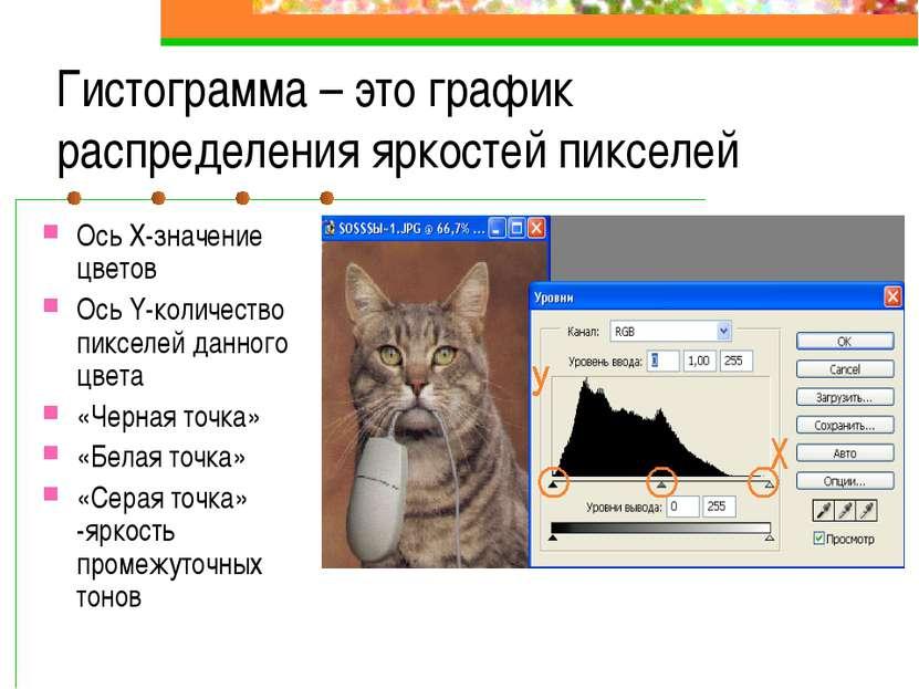 Гистограмма – это график распределения яркостей пикселей Ось Х-значение цвето...