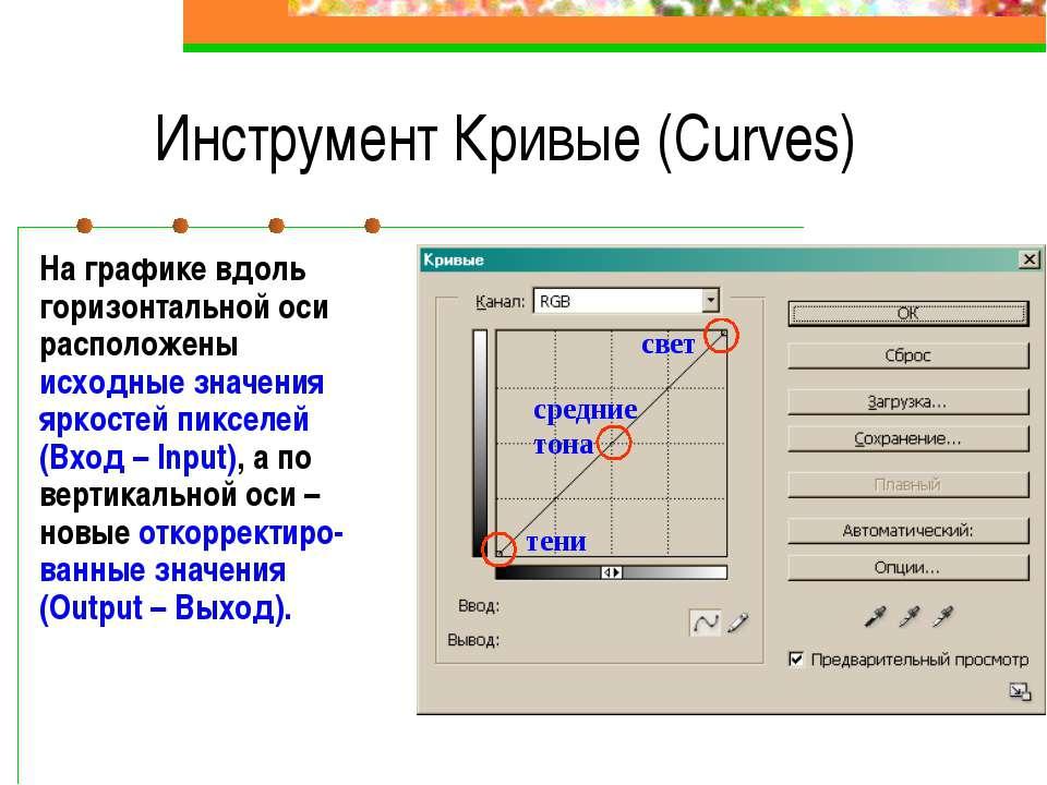 Инструмент Кривые (Curves) На графике вдоль горизонтальной оси расположены ис...
