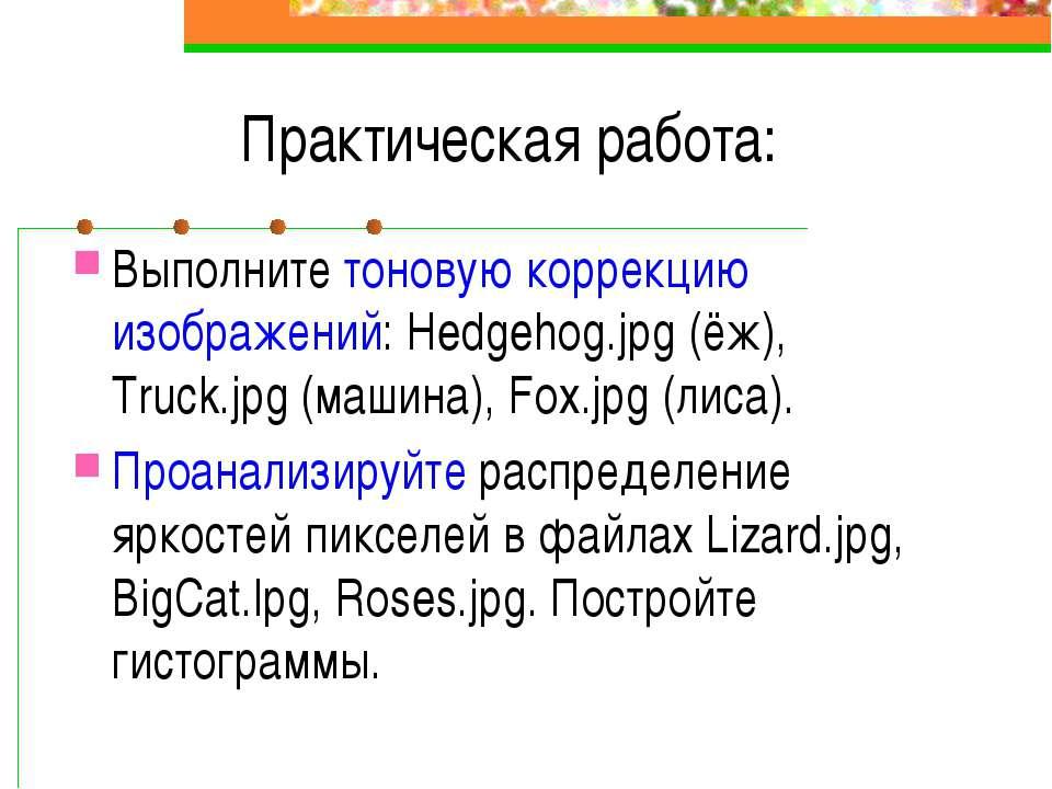 Практическая работа: Выполните тоновую коррекцию изображений: Hedgehog.jpg (ё...