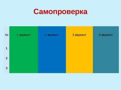 Самопроверка № 1 вариант 2 вариант 3 вариант 4 вариант 1 2 3 По одному челове...