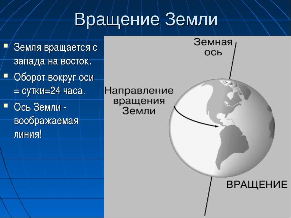 Вращение Земли Земля вращается с запада на восток. Оборот вокруг оси = сутки=...