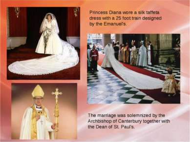 Princess Diana wore a silk taffeta dress with a 25 foot train designed by the...