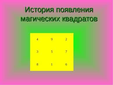 История появления магических квадратов 4 9 2 3 5 7 8 1 6