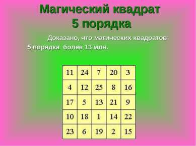 Доказано, что магических квадратов 5 порядка более 13 млн. Магический квадрат...