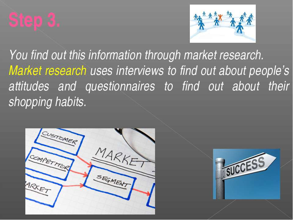 Step 3. You find out this information through market research. Market researc...