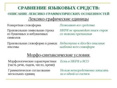СРАВНЕНИЕ ЯЗЫКОВЫХ СРЕДСТВ: ОПИСАНИЕ ЛЕКСИКО-ГРАММАТИЧЕСКИХ ОСОБЕННОСТЕЙ Лекс...