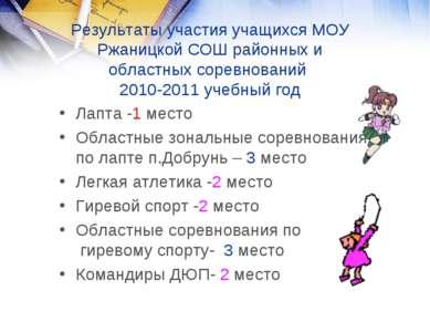 Результаты участия учащихся МОУ Ржаницкой СОШ районных и областных соревнован...