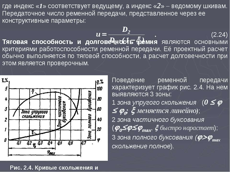 где индекс «1» соответствует ведущему, а индекс «2» ведомому шкивам. Передато...