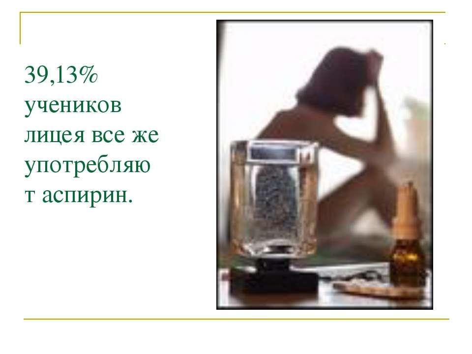 39,13% учеников лицея все же употребляют аспирин.