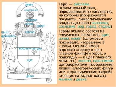 Герб— эмблема, отличительный знак, передаваемый по наследству, на котором из...