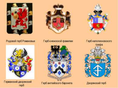 Родовой герб Романовых Герб княжеской фамилии Герб наполеоновского графа Герм...