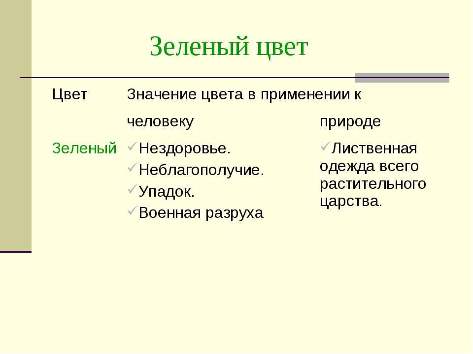 Зеленый цвет