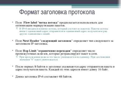 """Формат заголовка протокола Поле Flow label """"метка потока"""" предполагается испо..."""
