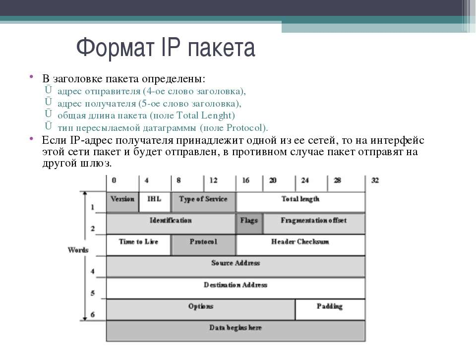 Формат IP пакета В заголовке пакета определены: адрес отправителя (4-ое слово...
