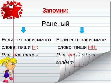 Запомни: Ране..ый Если нет зависимого Если есть зависимое слова, пиши Н : сло...