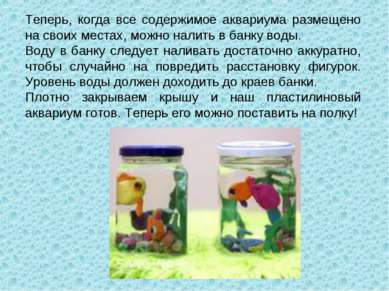 Теперь, когда все содержимое аквариума размещено на своих местах, можно налит...