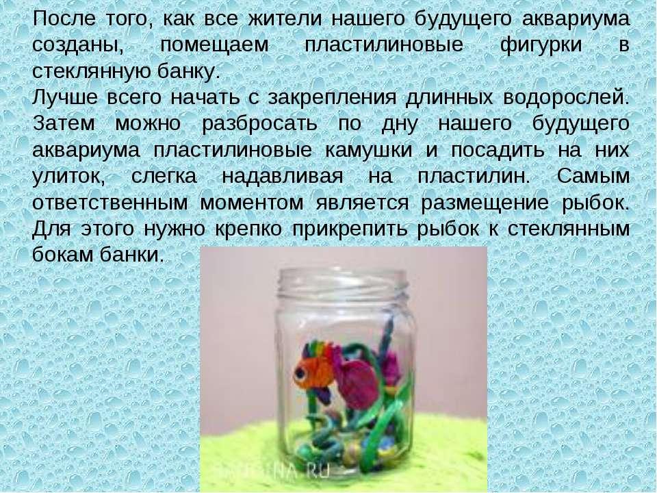 После того, как все жители нашего будущего аквариума созданы, помещаем пласти...