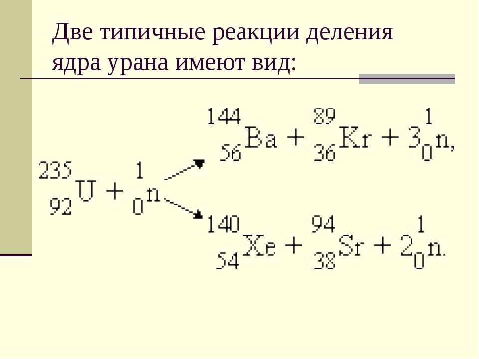Две типичные реакции деления ядра урана имеют вид: