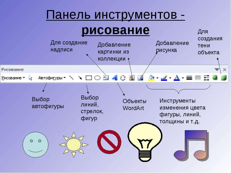 Панель инструментов - рисование Выбор автофигуры Выбор линий, стрелок, фигур ...