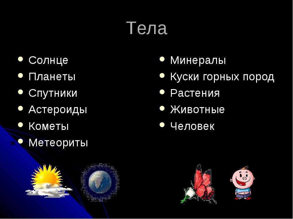Тела Солнце Планеты Спутники Астероиды Кометы Метеориты Минералы Куски горных...
