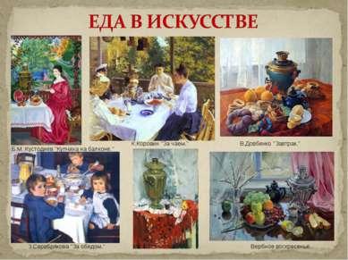 """Б.М. Кустодиев """"Купчиха на балконе."""" К.Коровин """"За чаем."""" З.Серебрякова """"За о..."""
