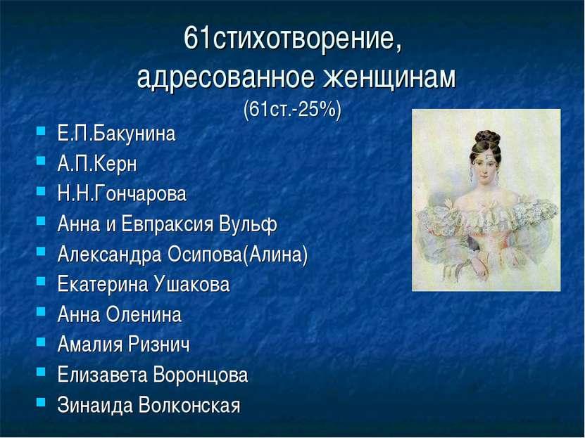 61стихотворение, адресованное женщинам (61ст.-25%) Е.П.Бакунина А.П.Керн Н.Н....