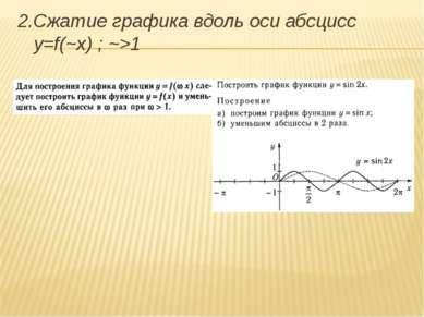 2.Сжатие графика вдоль оси абсцисс y=f(~x) ; ~>1