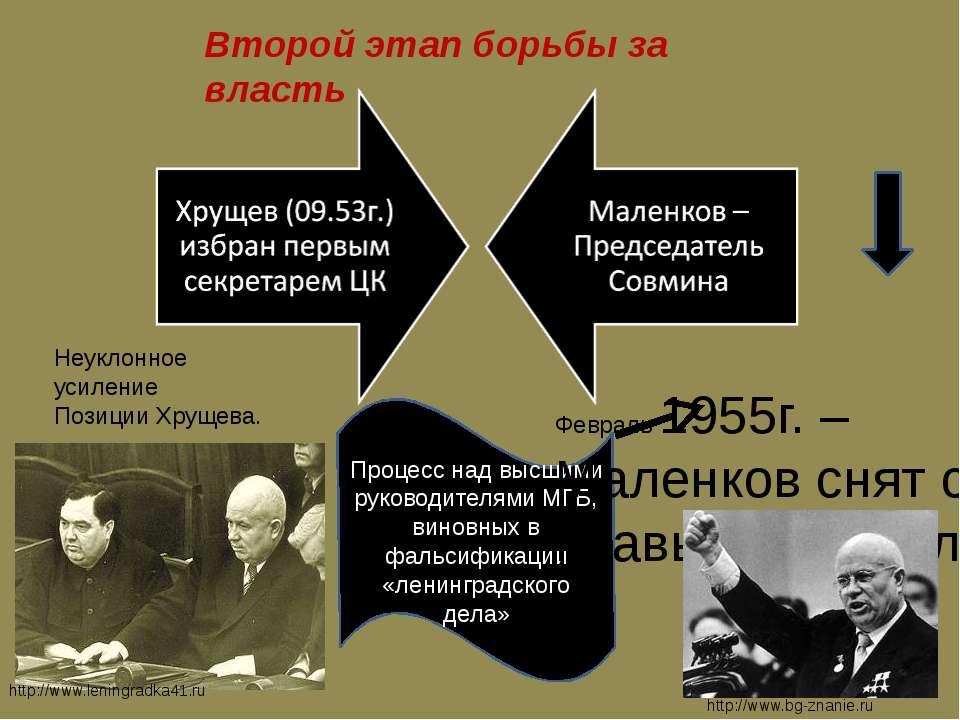Второй этап борьбы за власть Процесс над высшими руководителями МГБ, виновных...