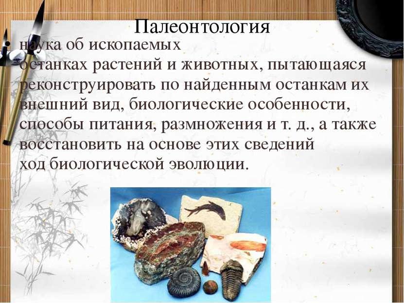 Палеонтология наука об ископаемых останкахрастенийиживотных, пытающаяся ре...