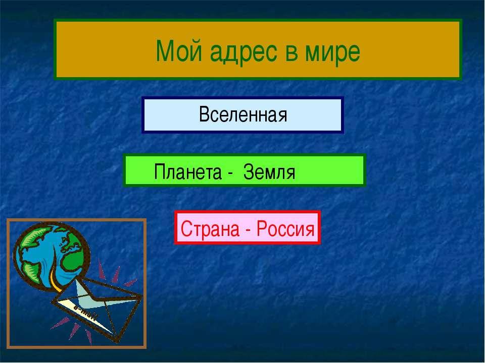 Мой адрес в мире Вселенная Планета - Земля Страна - Россия