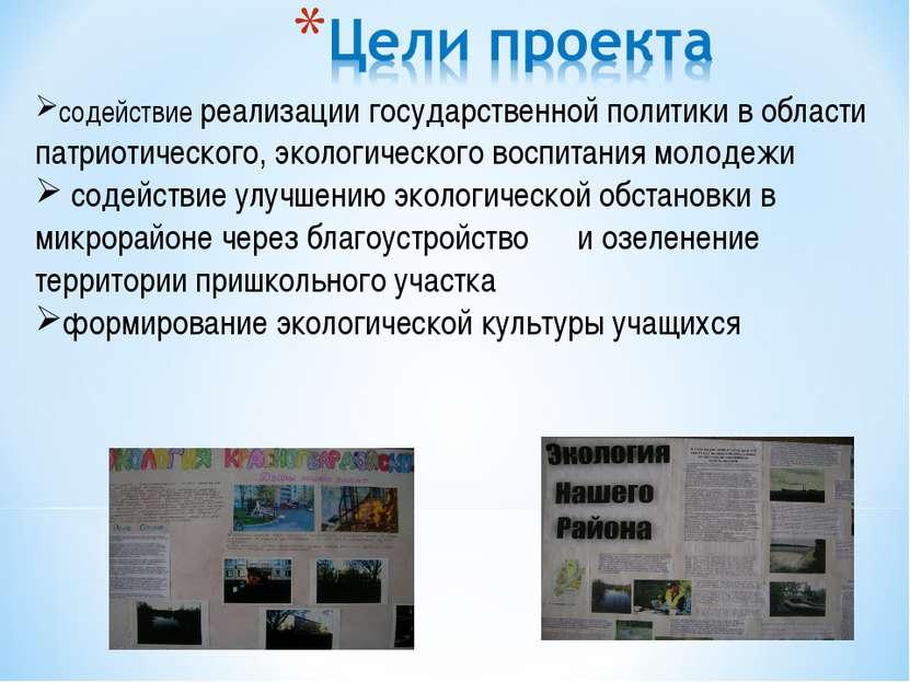 содействие реализации государственной политики в области патриотического, эко...