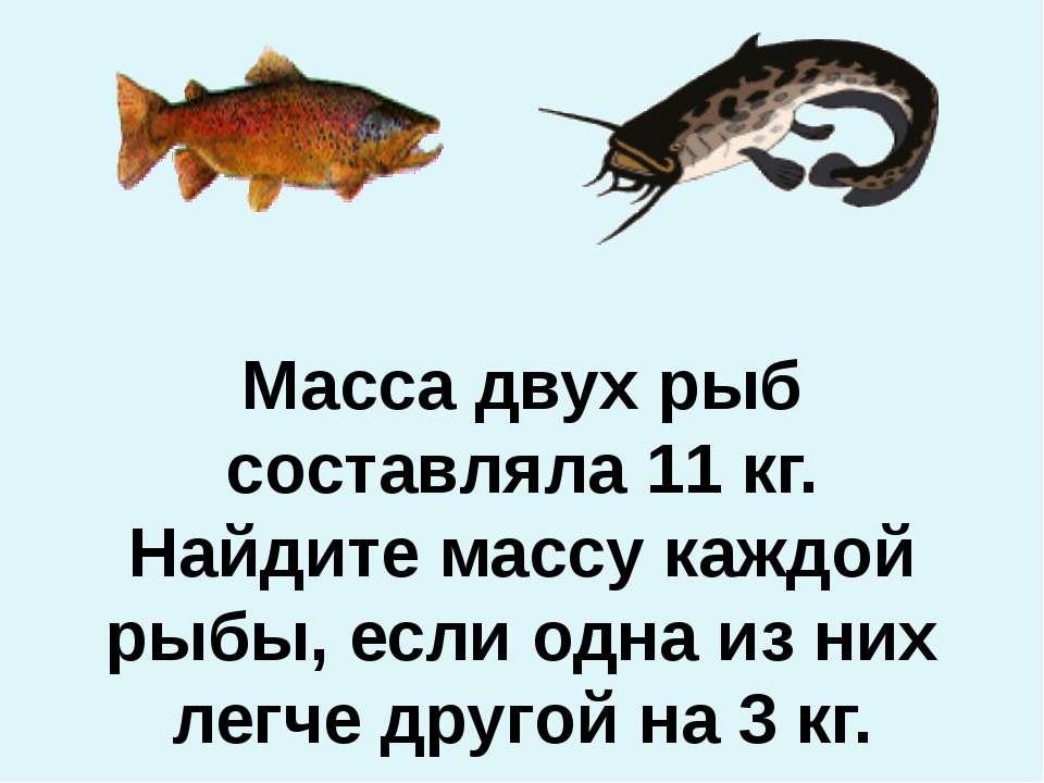 Масса двух рыб составляла 11 кг. Найдите массу каждой рыбы, если одна из них ...