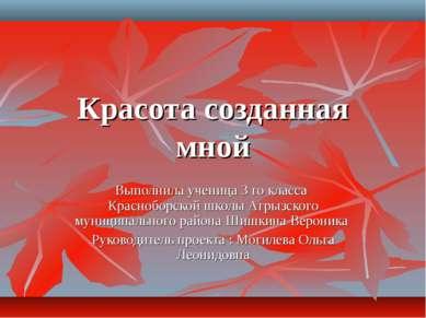 Красота созданная мной Выполнила ученица 3 го класса Красноборской школы Агры...