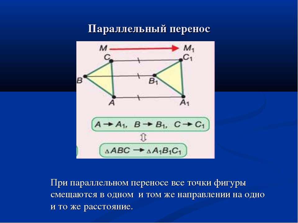 Параллельный перенос При параллельном переносе все точки фигуры смещаются в о...