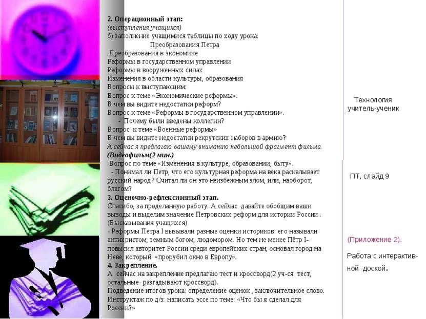 2. Операционный этап: (выступления учащихся) б) заполнение учащимися таблицы ...