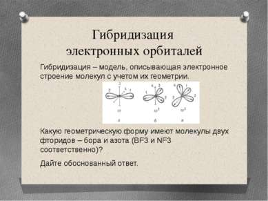 Гибридизация электронных орбиталей Гибридизация – модель, описывающая электро...