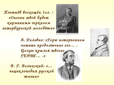 Плетнёв восхищён 1гл. : «Онегин твой будет карманным зеркалом петербургской м...