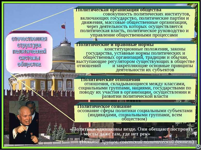Политические отношения отношения, складывающиеся между классами, социальными ...
