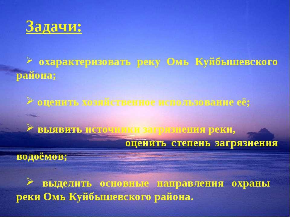 Задачи: охарактеризовать реку Омь Куйбышевского района; оценить хозяйственное...