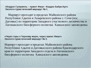 «Кордон Гузерипль – приют Фишт– Кордон Бабук-Аул»   Эколого-туристический м...