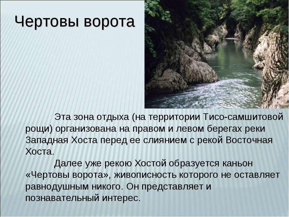 Чертовы ворота Эта зона отдыха (на территории Тисо-самшитовой рощи) организов...